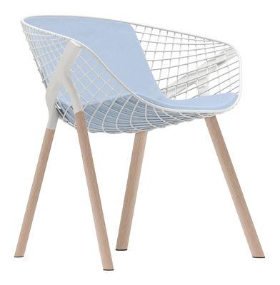 Kobi Wood Sessel / Stuhlbeine aus Eiche - mit großem Sitzkissen für Sitzfläche und Rückenlehne - Alias - Weiß,Himmelblau,Eiche