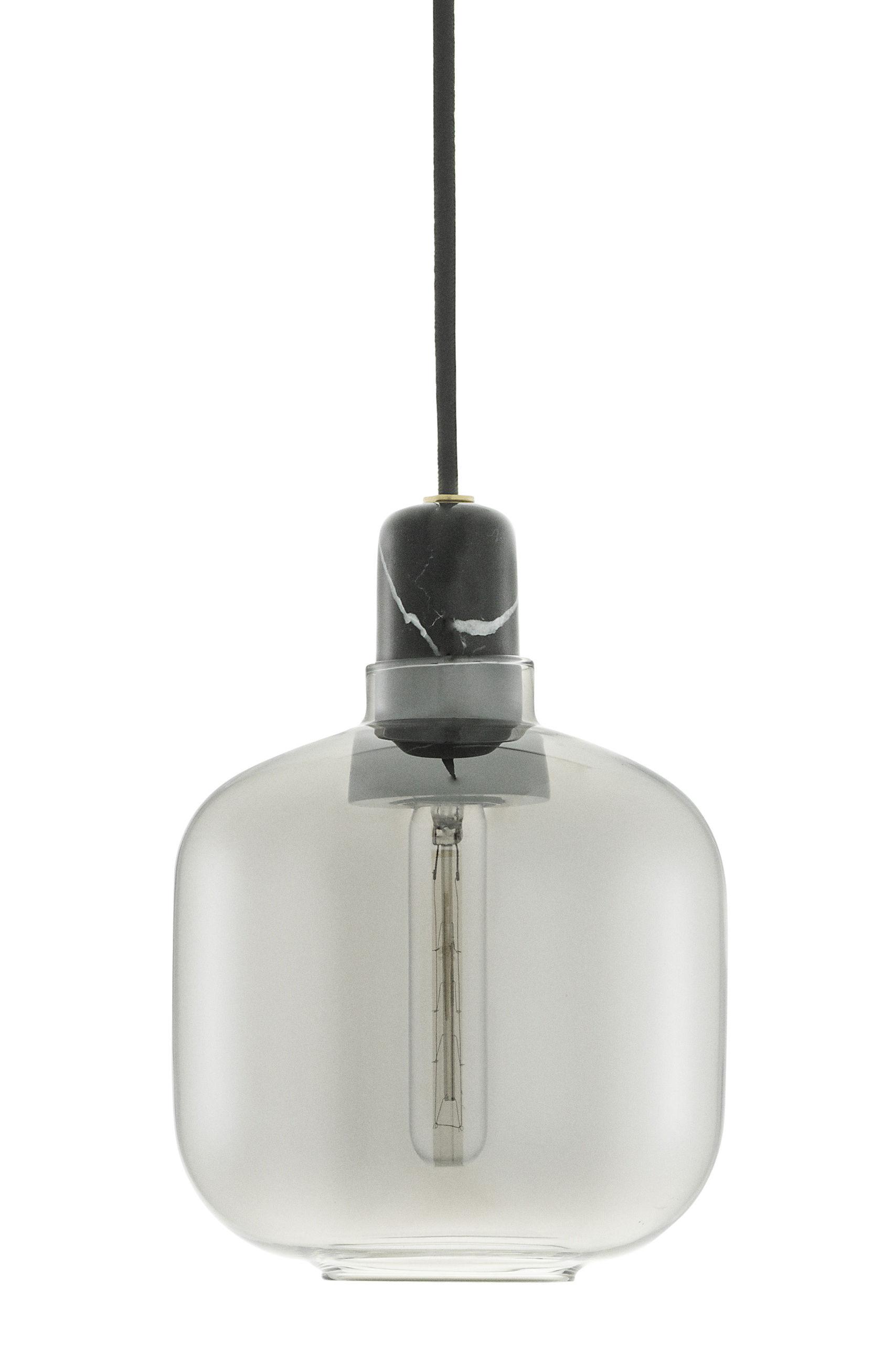 Illuminazione - Lampadari - Sospensione Amp Small - / Ø 14 x H 17 cm di Normann Copenhagen - Grigio fumé / Marmo nero - Marmo, Vetro