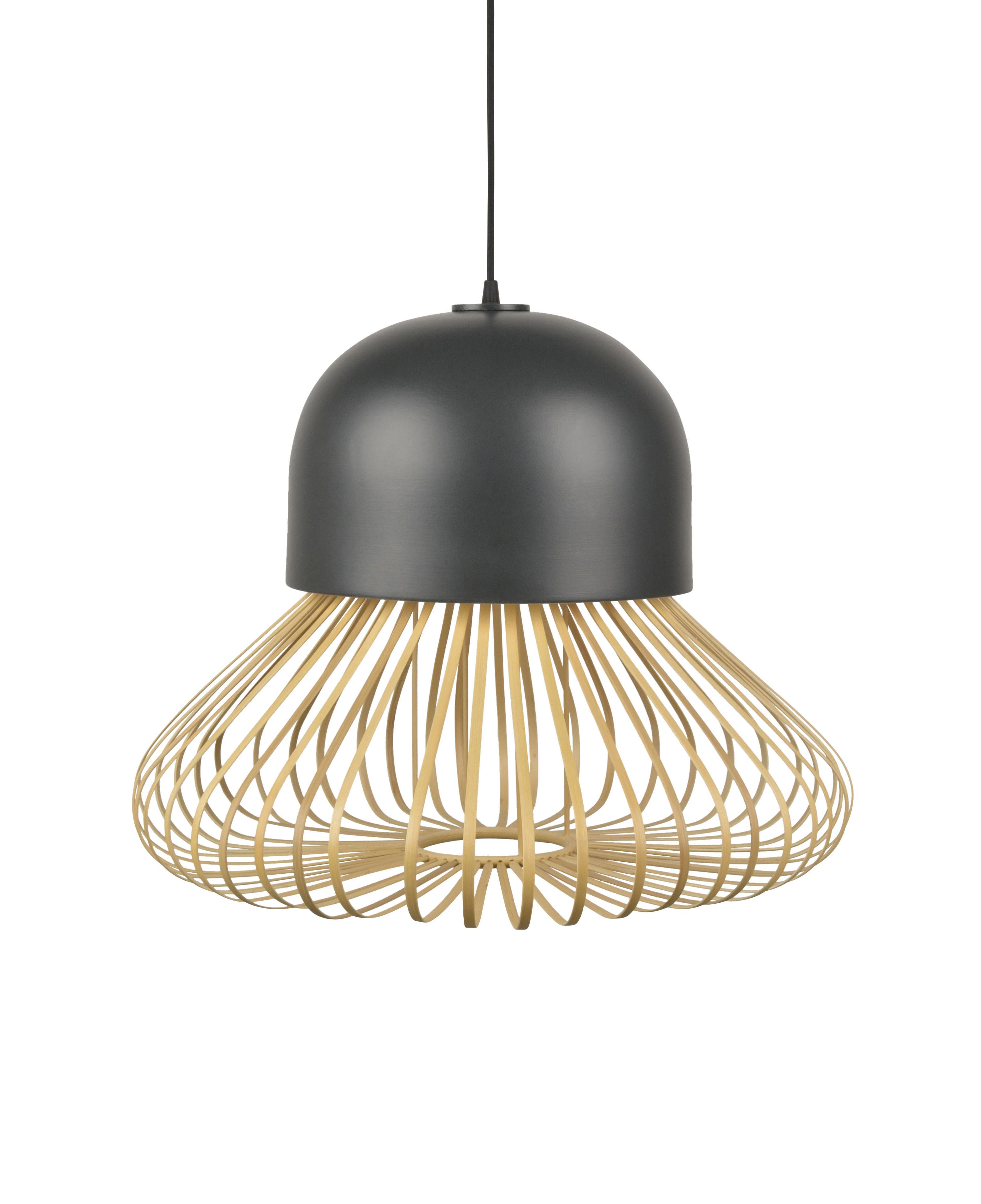 Illuminazione - Lampadari - Sospensione Anemos Large - / Ø 55 x H 42 cm - Bambù & ceramica di Forestier - Large / Antracite & naturale - Bambù, Ceramica smaltata