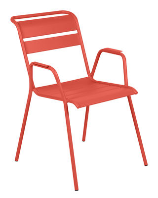 Furniture - Chairs - Monceau Stackable armchair - / Metal by Fermob - Orangey-red - Painted steel
