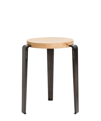 Furniture - Stools - Lou Stackable stool - / H 45 cm - Steel & oak by TipToe - Patinated steel / Oak - Powder coated steel, Solid oak