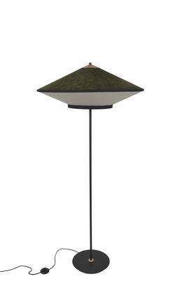 Leuchten - Stehleuchten - Cymbal Stehleuchte / Ø 70 cm - Velours - Forestier - Grün - Eiche, Gewebte Baumwolle, lackiertes Metall, Velours