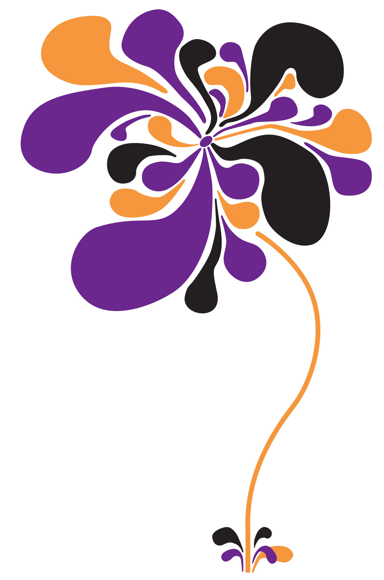 Déco - Stickers, papiers peints & posters - Sticker Pop Flower - Domestic - Orange - Violet - Noir - Vinyle