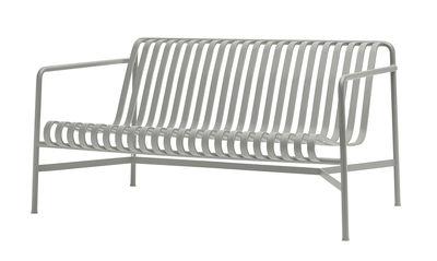 Outdoor - Sofas - Palissade Lounge Straight sofa - W 139 cm - R & E Bouroullec by Hay - Light grey - Electro galvanized steel, Peinture époxy