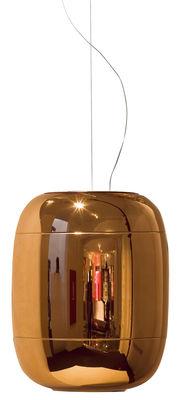 Suspension Gong LED / 30 x H 37 cm - Prandina cuivre en verre