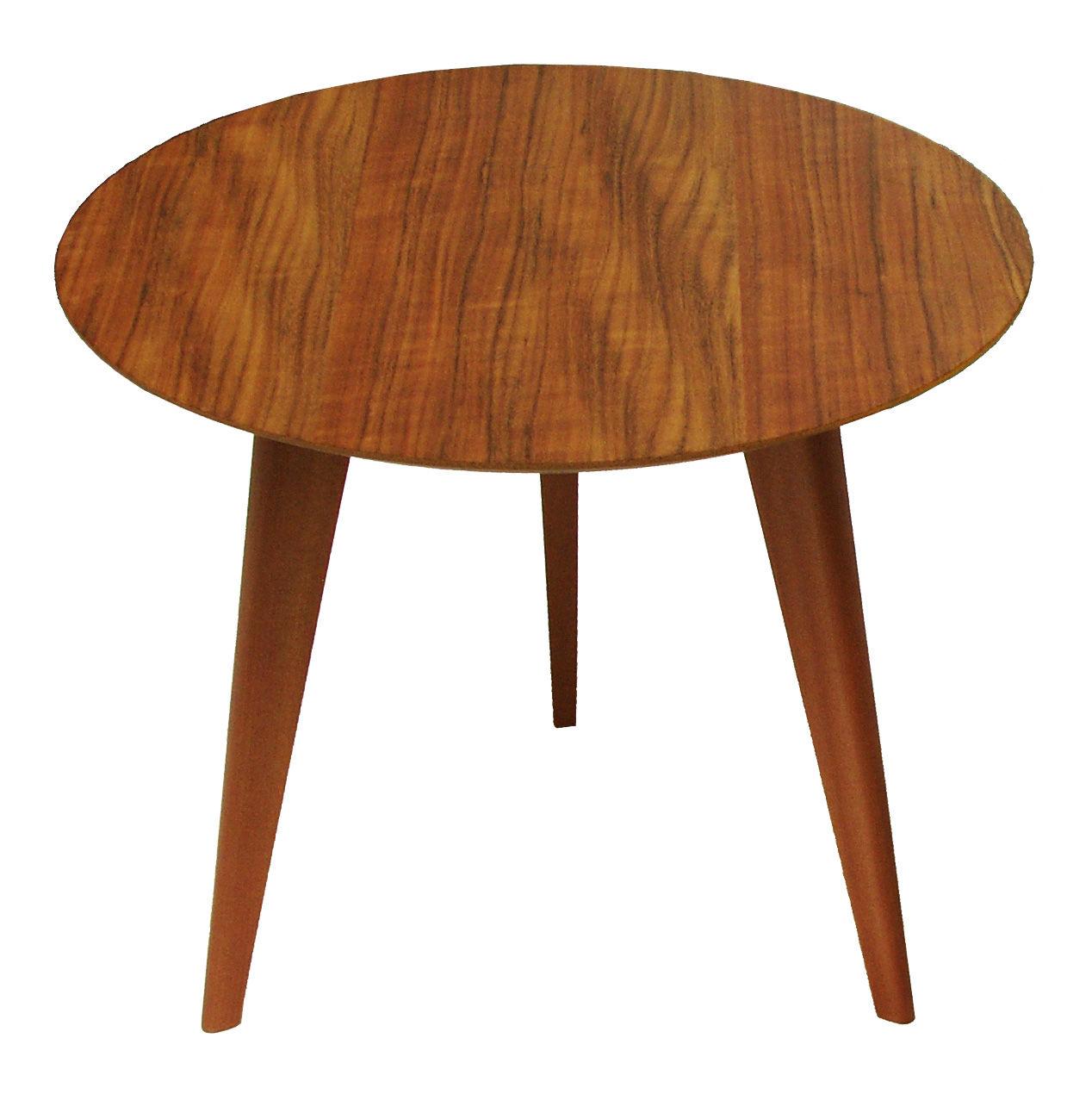 Mobilier - Tables basses - Table basse Lalinde Ronde / Small - Ø 45 cm - Sentou Edition - Teck / Pieds chêne - Chêne massif, MDF plaqué teck