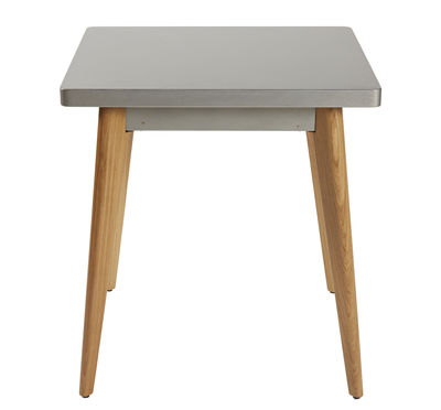 Mobilier - Tables - Table carrée 55 / 70 x 70 cm - Métal & pieds bois - Tolix - Gris soie / Pieds bois - Acier recyclé laqué, Chêne massif