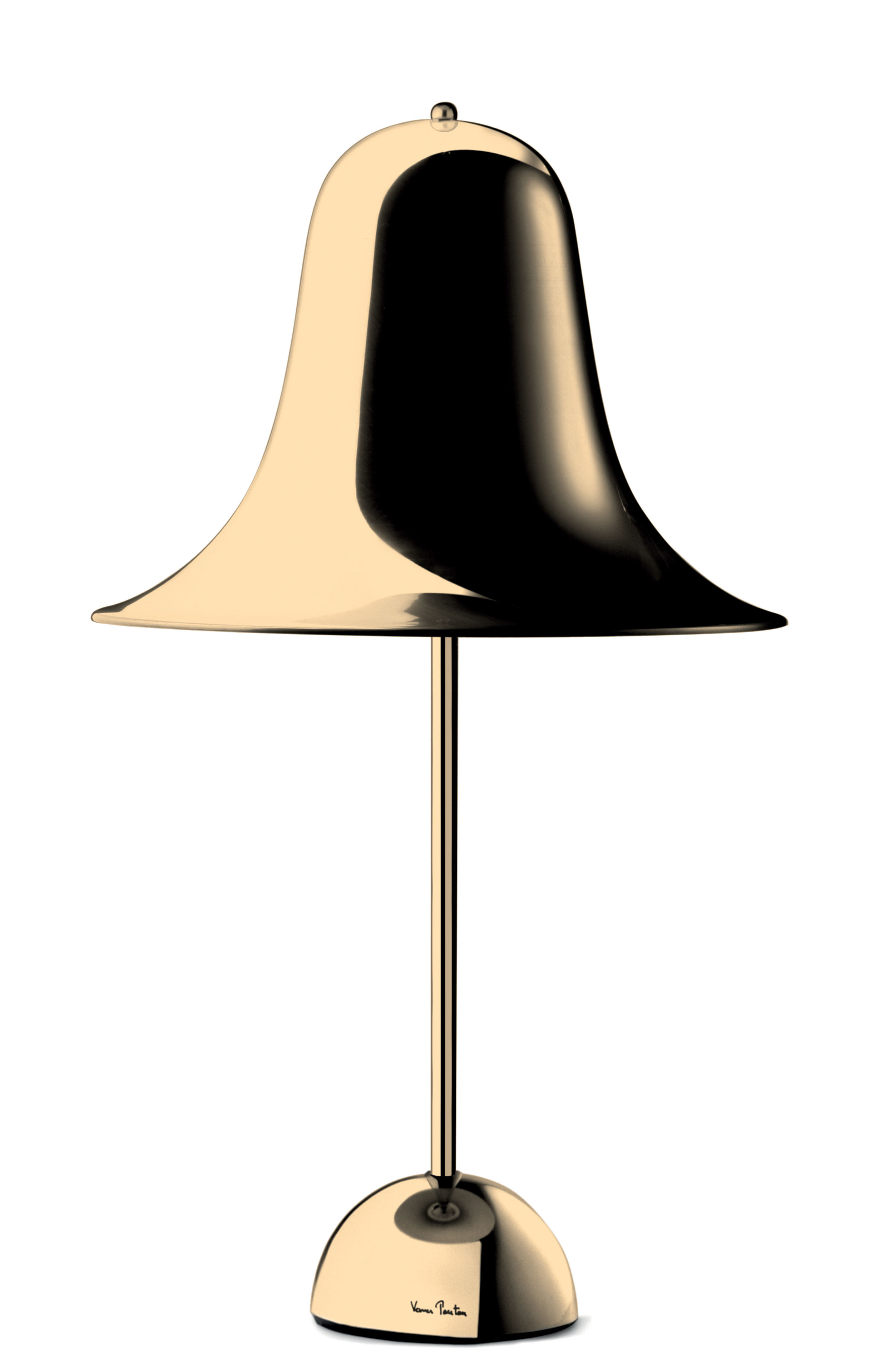 Lighting - Table Lamps - Pantop Small Ø 30 cm Table lamp - / Verner Panton (1980) by Verpan - Polished brass - Polished brass-plated metal