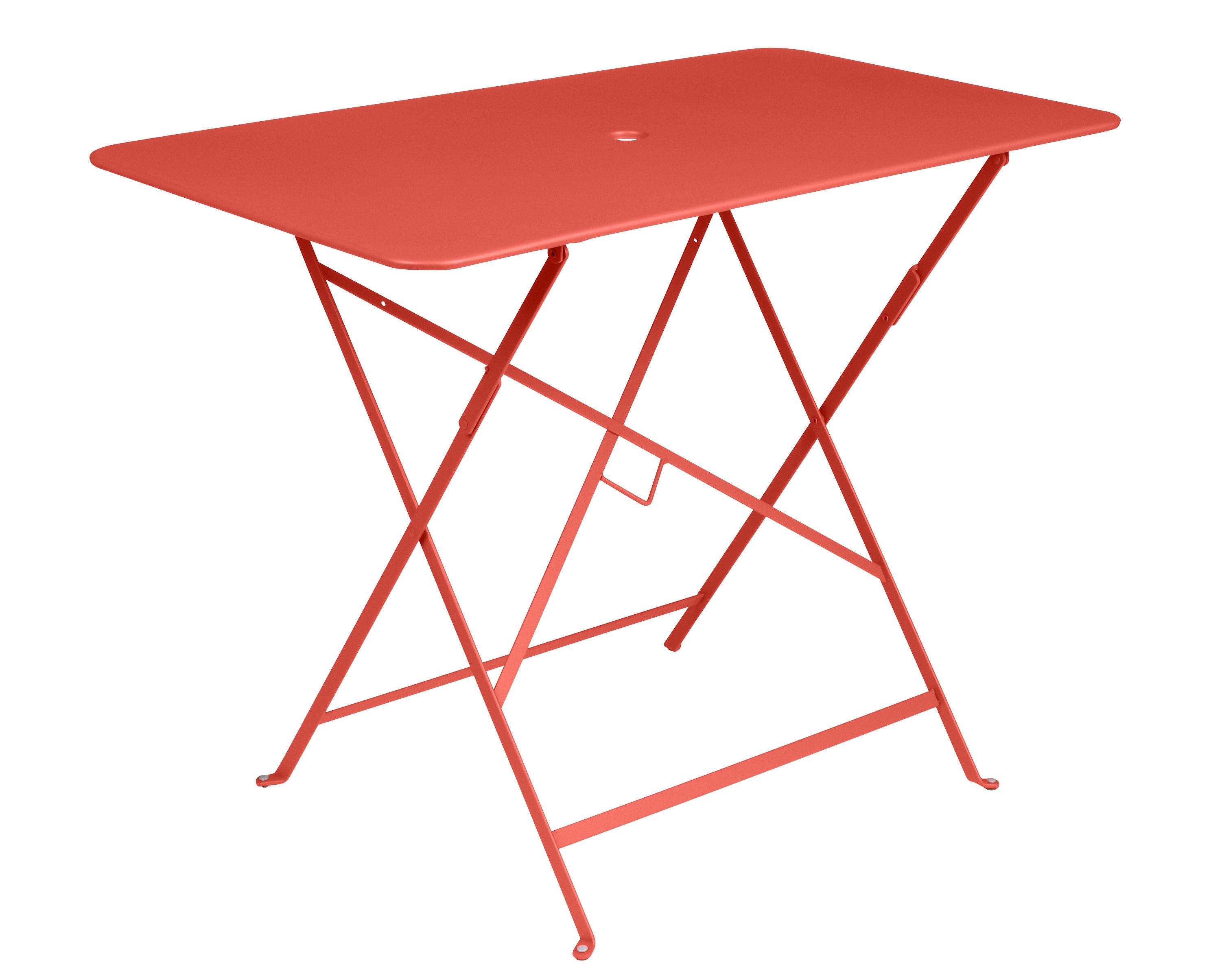 Outdoor - Tables de jardin - Table pliante Bistro / 97 x 57 cm - 4 personnes - Trou parasol - Fermob - Capucine - Acier peint
