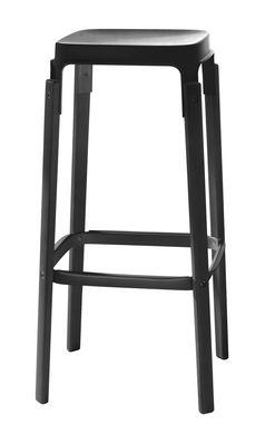 Mobilier - Tabourets de bar - Tabouret de bar Steelwood / Bois & métal - H 78 cm - Magis - Noir - Acier verni, Hêtre teinté