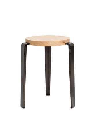 Tabouret empilable Lou / H 45 cm - Acier & chêne - TIPTOE gris/bois naturel/métal en métal/bois