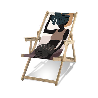 Jardin - Bains de soleil, chaises longues et hamacs - Transat Guatemala / Avec accoudoirs - PÔDEVACHE - Femme noire / Multicolore - Bois d'eucalyptus, Toile polyester