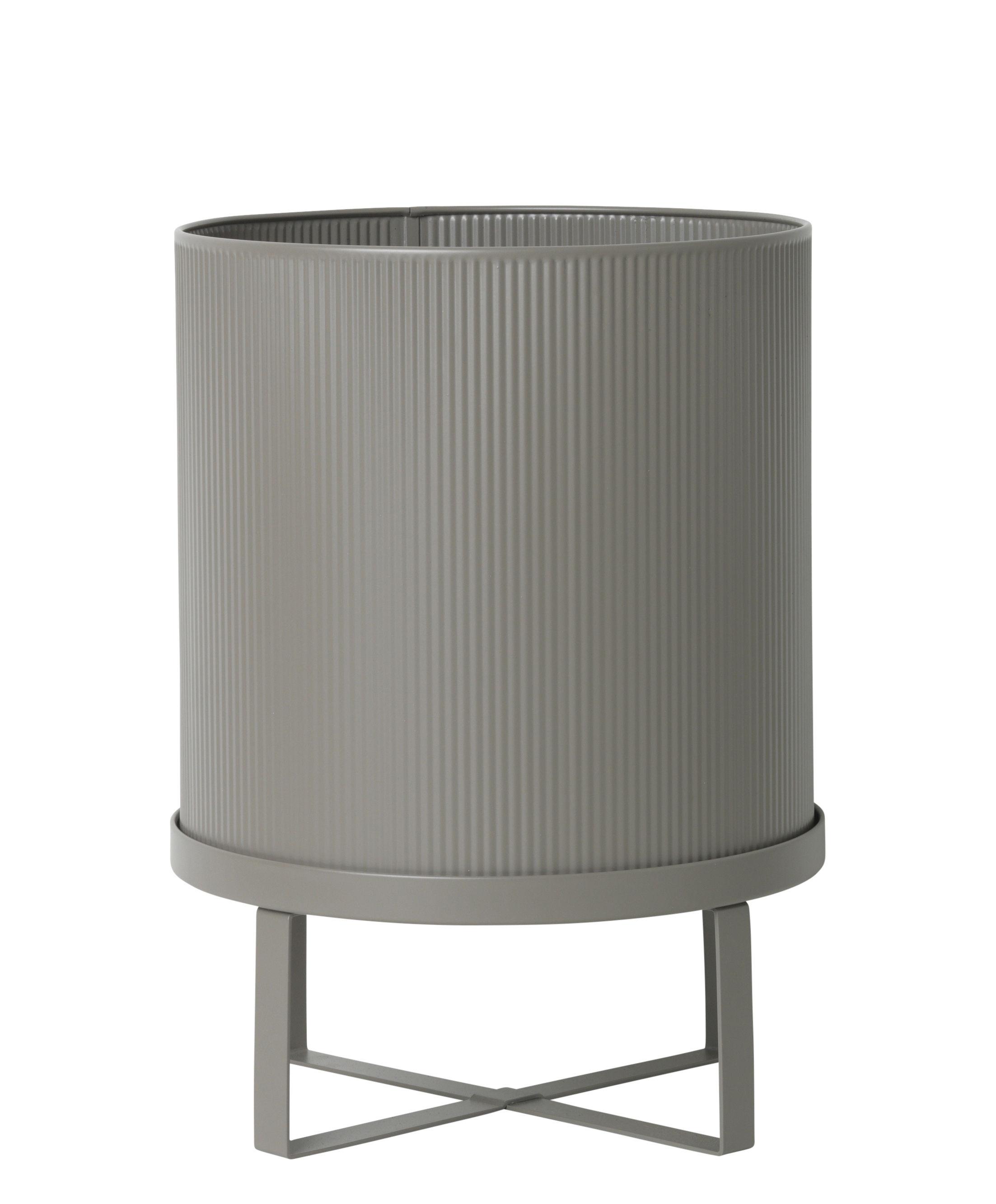 Outdoor - Töpfe und Pflanzen - Bau Large Blumentopf / Ø 28 cm - Metall - Ferm Living - Warmes Grau - galvanisierter Stahl