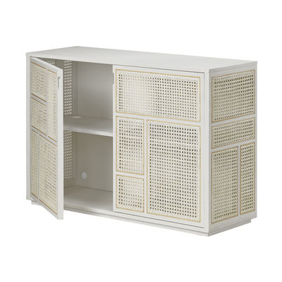 Buffet Air / Meuble TV - Cannage rotin - L 120 x H 81 cm - Design House Stockholm blanc/bois naturel en bois