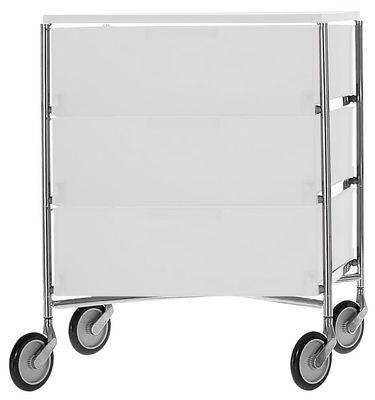 Mobilier - Etagères & bibliothèques - Caisson à roulettes Mobil / 3 tiroirs - Kartell - Glace translucide - Acier chromé