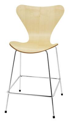 Chaise de bar Série 7 / H 76 cm - Bois naturel - Fritz Hansen erable en bois