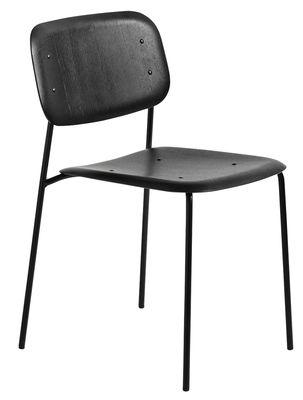 Mobilier - Chaises, fauteuils de salle à manger - Chaise empilable Soft Edge 10 / Bois & métal - Hay - Noir / Pieds noirs - Acier laqué, Contreplaqué de chêne moulé