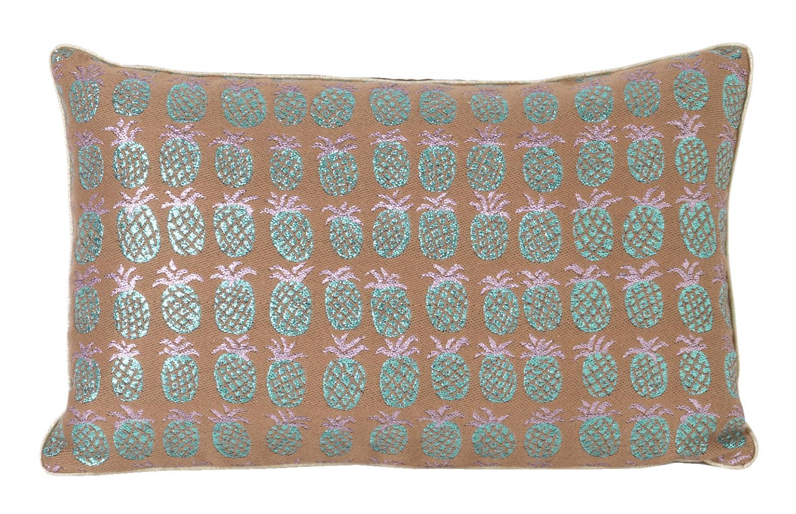 Interni - Cuscini  - Cuscino Salon - Ananas - / 40 x 25 cm di Ferm Living - Pesca & verde iridescente -  Plumes, Mélange de fibres, Velluto