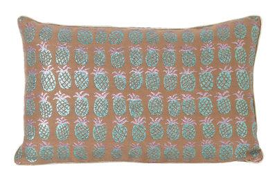 Decoration - Cushions & Poufs - Salon - Ananas Cushion - 40 x 25 cm by Ferm Living - Peach & green -  Plumes, Fibre mix, Velvet