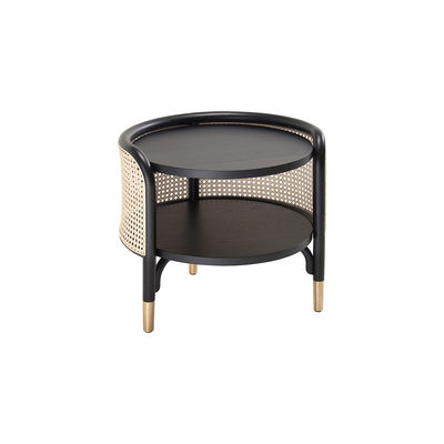 Furniture - Coffee Tables - Mos End table - / 50 x 47 cm - Caning & wood by Wiener GTV Design - Black & natural - Brass, Natural beechwood, Straw