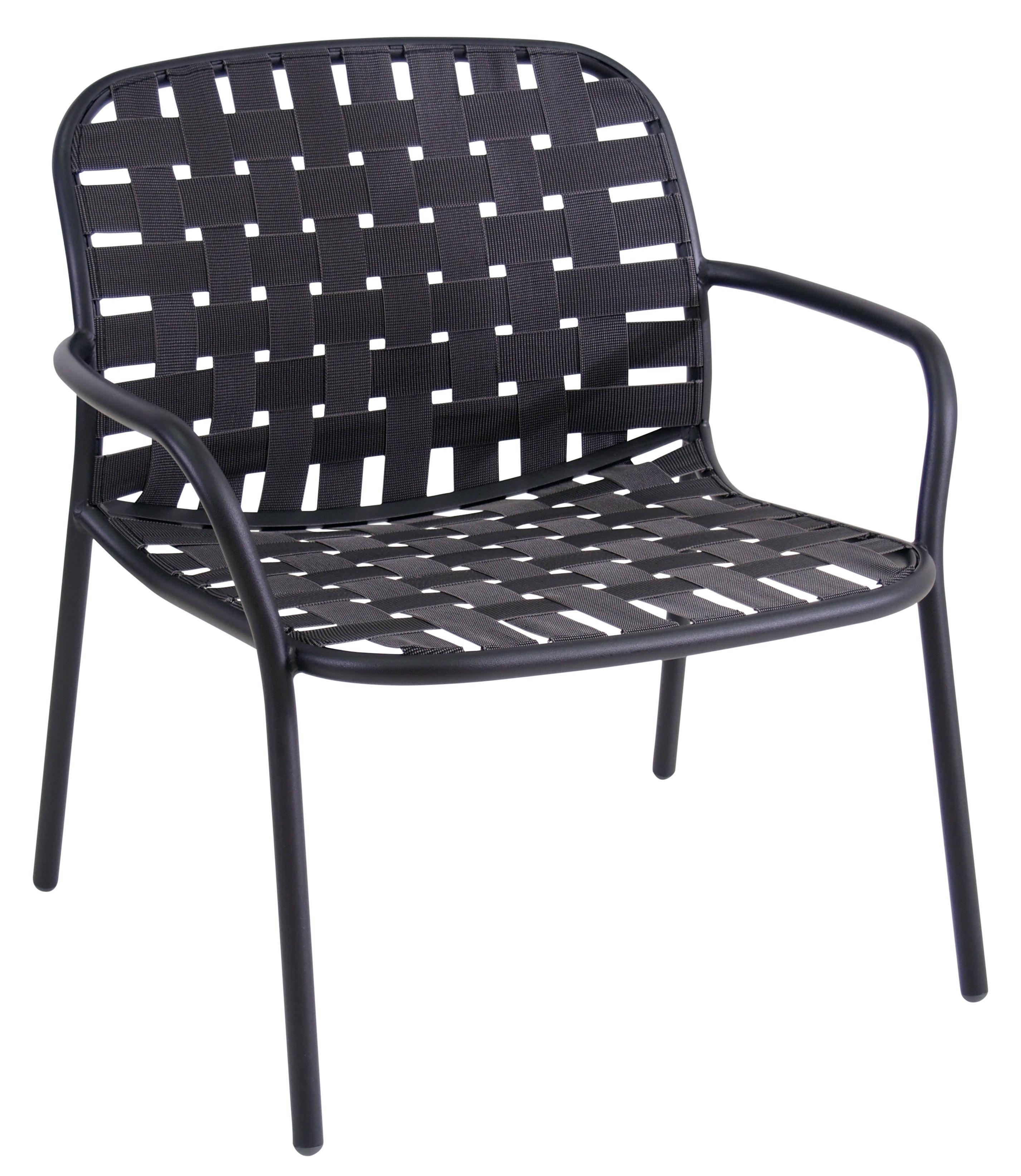 Mobilier - Fauteuils - Fauteuil bas Yard / Sangles élastiques - Emu - Noir - Aluminium verni, Sangles élastiques