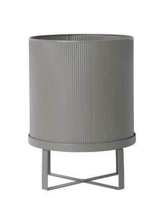 Outdoor - Pots & Plants - Bau Large Flowerpot - / Ø 28 cm - Metal by Ferm Living - Warm grey - Galvanized steel