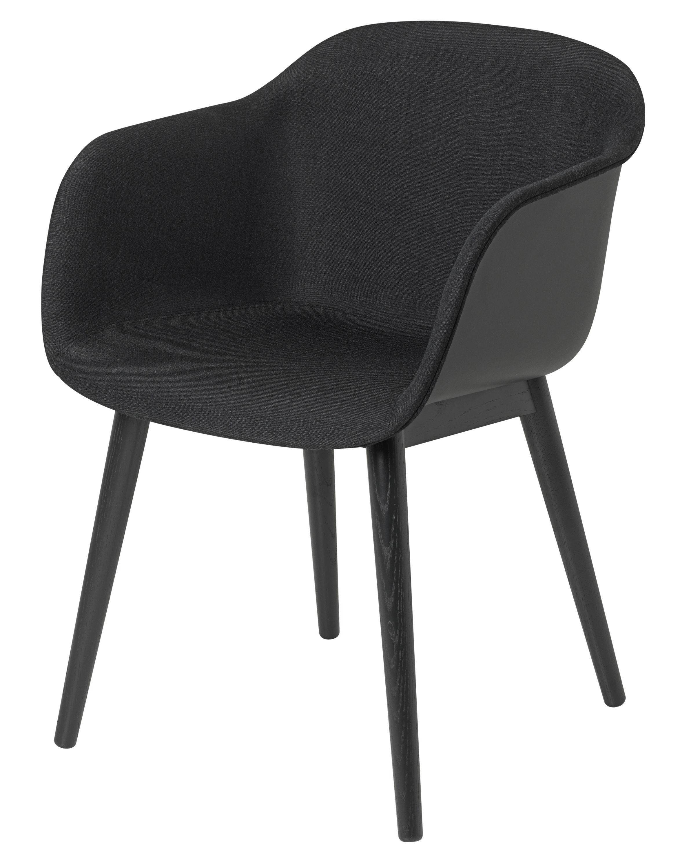 Möbel - Stühle  - Fiber Gepolsterter Sessel / 4 Stuhlbeine aus Holz - Muuto - Schwarz / innen dunkelgrau - bemalte Eiche, Kvadrat-Gewebe, Recyceltes Verbundmaterial