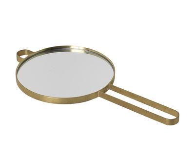 Decoration - Mirrors - Poise Hand mirror - / Brass by Ferm Living - Brass - Glass, Solid brass