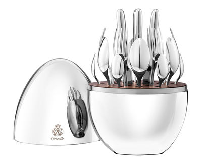 Tableware - Cutlery - Mood Kitchen cupboard - 24 pieces / 6 persons by Christofle - Polished steel - Polished steel, Walnut