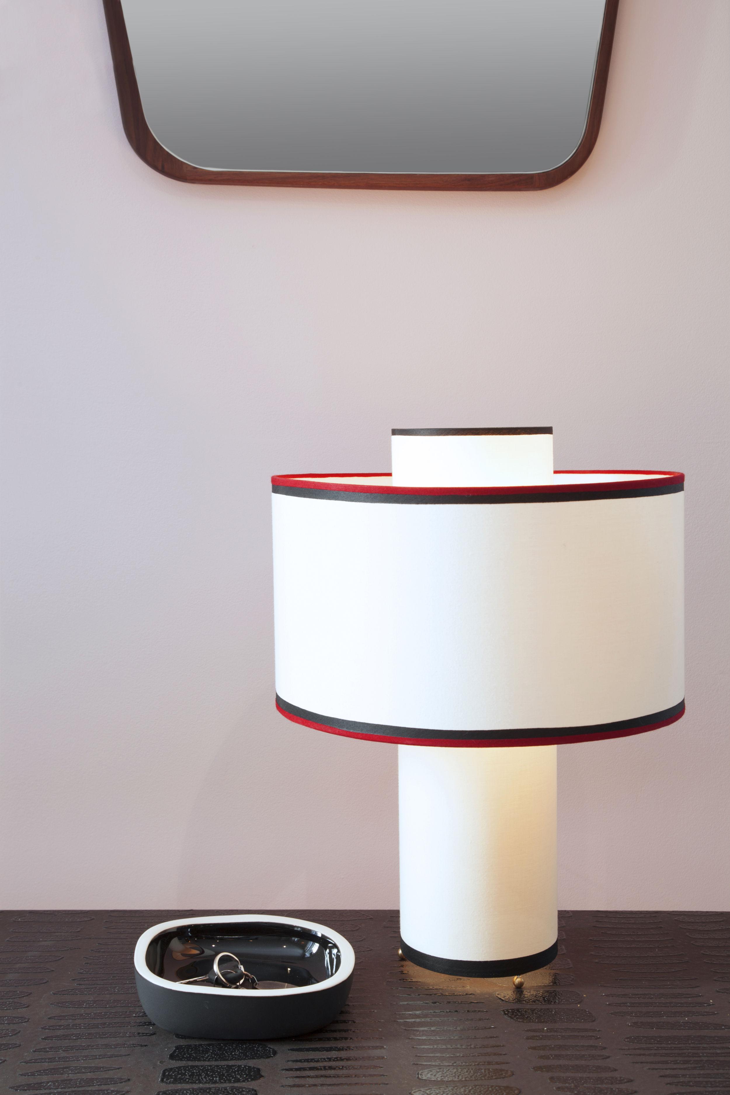 lampe de table bianca coton h 47 cm ecru biais rouge noir maison sarah lavoine made. Black Bedroom Furniture Sets. Home Design Ideas
