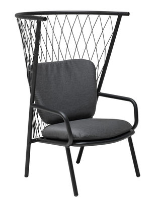 Dekoration - Dekorationsartikel - Nef Lounge Sessel / Metall & Polyester - H 125 cm - Emu - Sessel / schwarz - klarlackbeschichtetes Aluminium, Kunststoffseile