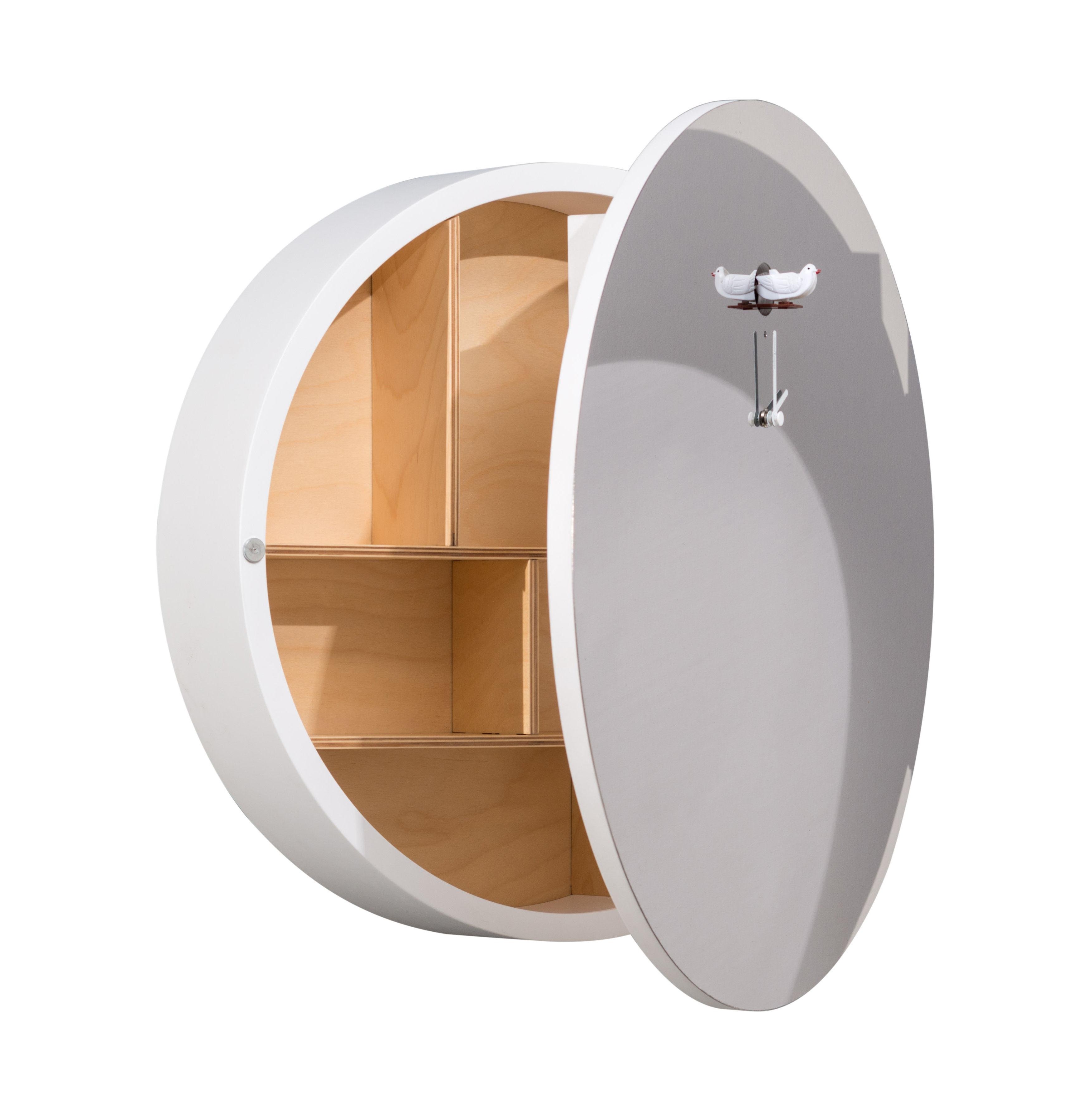 Mobilier - Etagères & bibliothèques - Miroir Sogno à coucou / avec miroir & rangements - Diamantini & Domeniconi - Blanc - Acier inoxydable, Bouleau