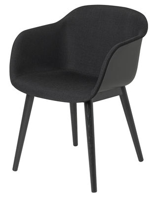 Furniture - Chairs - Fiber Padded armchair - / Wooden feet by Muuto - Black / Dark grey interior - Kvadrat fabric, Painted oak, Recycled composite material