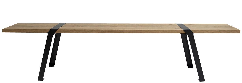 Arredamento - Panchine - Panchina Pi - interno/esterno di Moaroom - Nero - Acciaio verniciato, Rovere massello