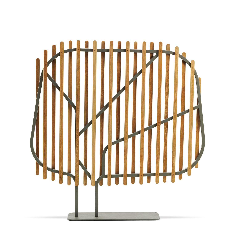 Mobilier - Paravents, séparations - Paravent Clostra / L 145 x H 145 cm - Ethimo - Teck & gris chaud - Métal laqué, Teck massif
