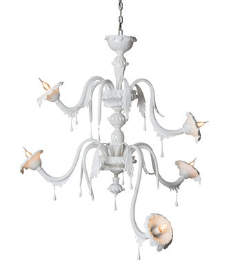 Lighting - Pendant Lighting - Au revoir Pendant - 5 arms - Opaline glass - L 122 x H 120 cm by Karman - White - Opal Glass