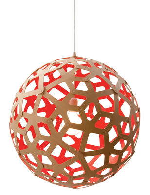 Lighting - Pendant Lighting - Coral Pendant - / Ø 40 cm - Bicoloured by David Trubridge - Red / Natural wood - Pine