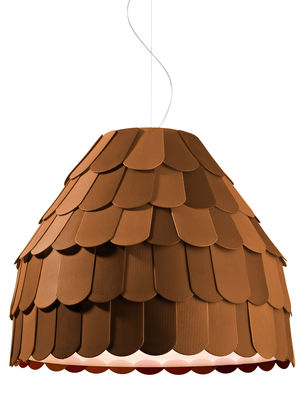 Lighting - Pendant Lighting - Roofer Pendant - Suspension by Fabbian - Brown - Rubber