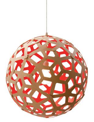 Leuchten - Pendelleuchten - Coral Pendelleuchte Ø 40 cm - Zweifarbig - Exklusiv - David Trubridge - Rot / Holz natur - Kiefer