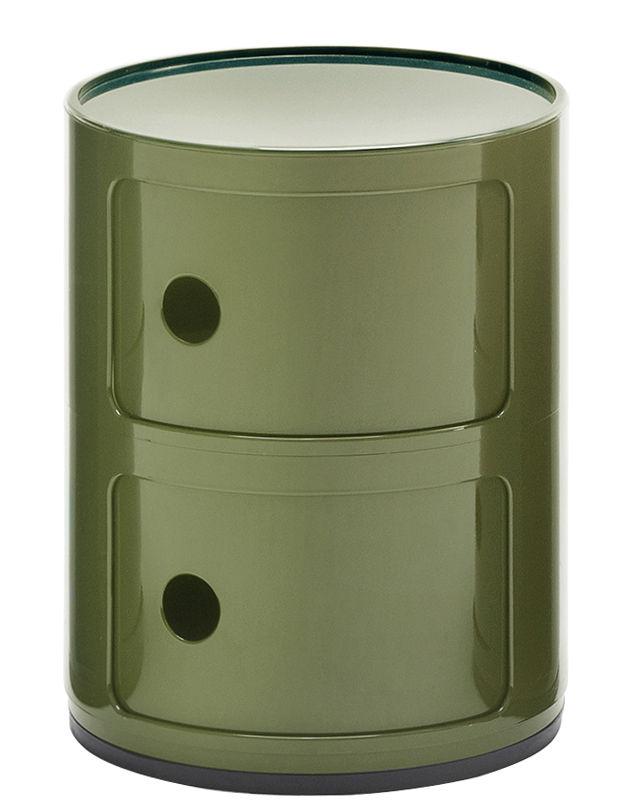 Arredamento - Mobili per bambini - Portaoggetti Componibili / 2 cassetti - H 40 cm - Kartell - Verde kaki - ABS