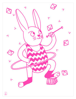 Decoration - Children's Home Accessories - Bunny Poster - Glow in the dark - 30 x 40 cm by OMY Design & Play - Bunny / Pink - Paper
