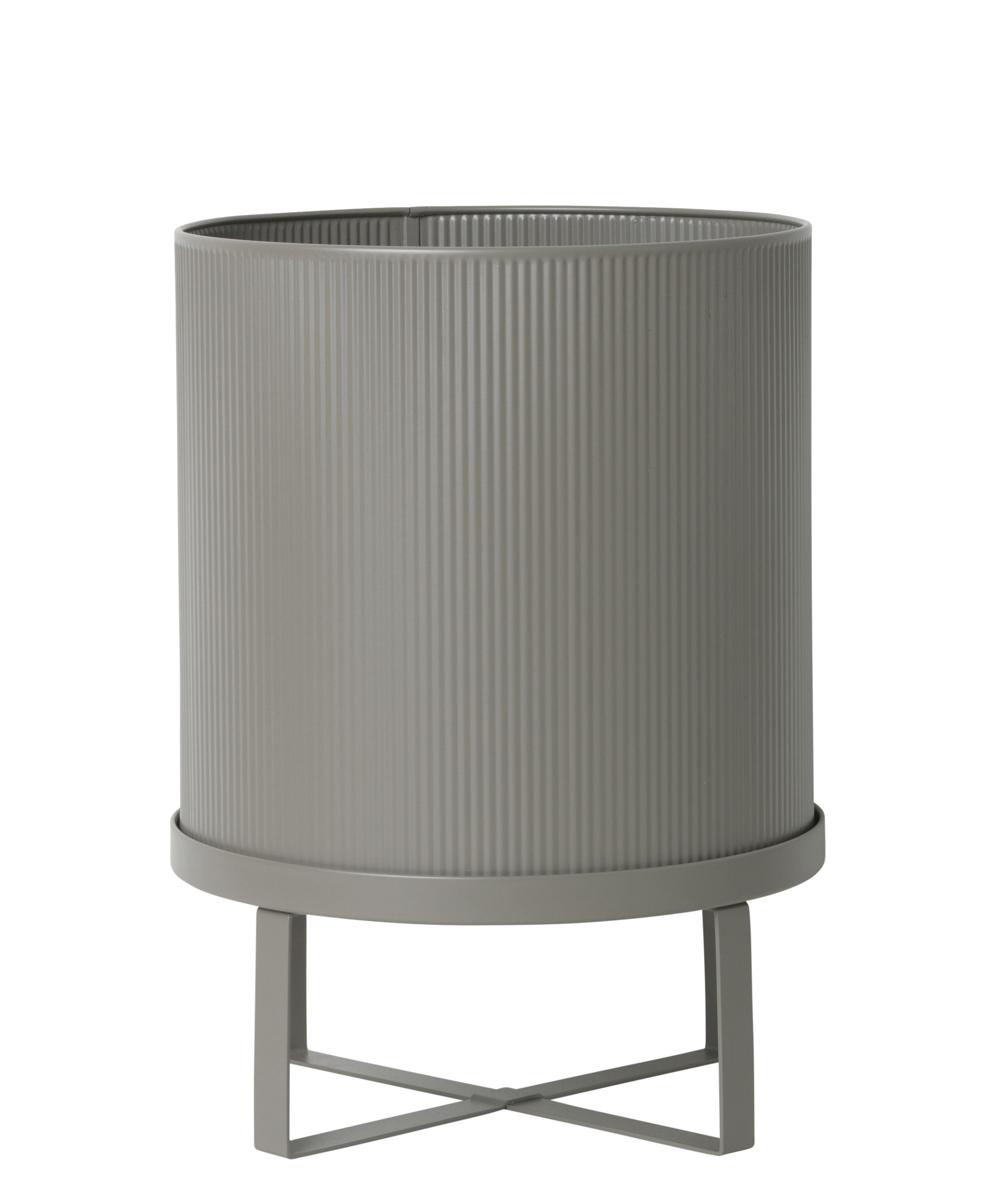 Outdoor - Pots et plantes - Pot de fleurs Bau Large / Ø 28 cm - Métal - Ferm Living - Gris chaud - Acier galvanisé