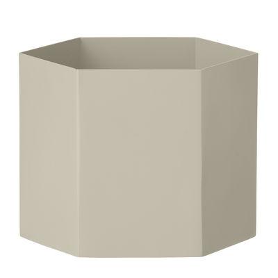 Pot de fleurs Hexagon XL / Ø 18 x H 16 cm - Ferm Living gris en métal