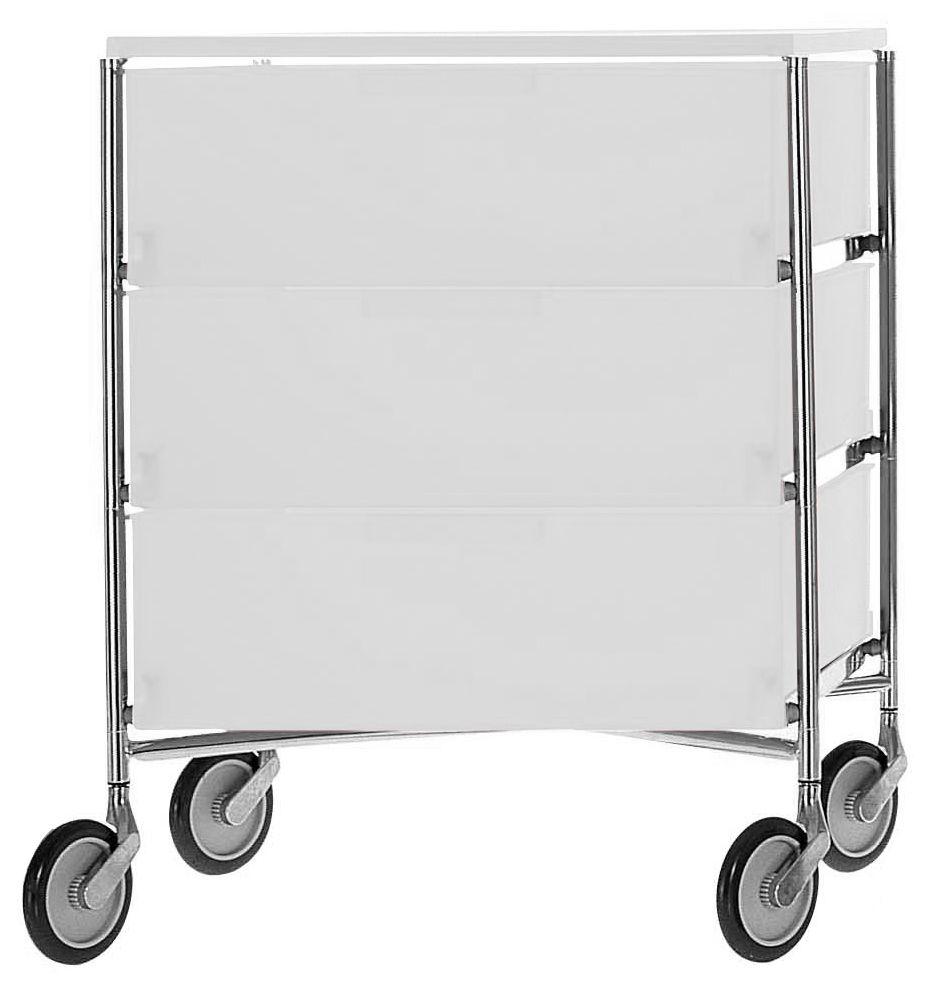 Möbel - Aufbewahrungsmöbel - Mobil Rollcontainer mit 3 Schubladen - Kartell - Eis - verchromter Stahl