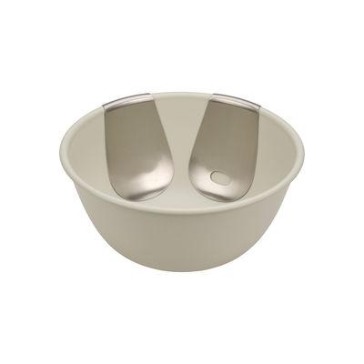 Arts de la table - Saladiers, coupes et bols - Saladier Uno / Avec couverts en acier - Joseph Joseph - Blanc pierre / Acier - Acier, Matière plastique