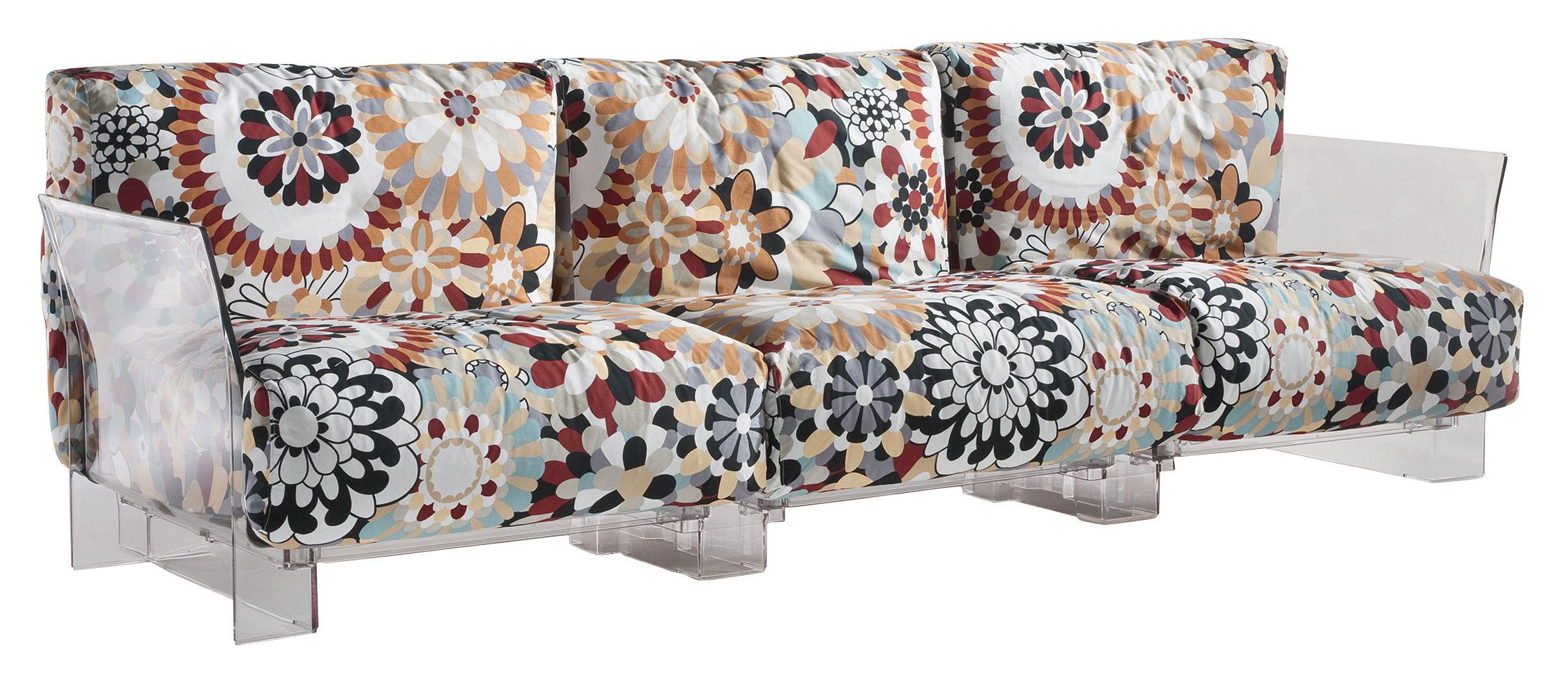 Möbel - Sofas - Pop Missoni Sofa 3-Sitzer - Kartell - Blumen in Terrakotta-Tönen - Baumwolle, Polykarbonat
