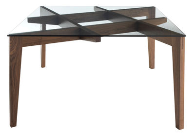 Furniture - Dining Tables - Autoreggente Square table - 100 x 100 cm / Glass & walnut by Horm - Transparent / Walnut - Soak glass, Solid walnut
