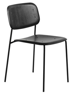 Furniture - Chairs - Soft Edge 10 Stacking chair - Metal & wood by Hay - Black - Lacquered steel, Moulded oak plywood