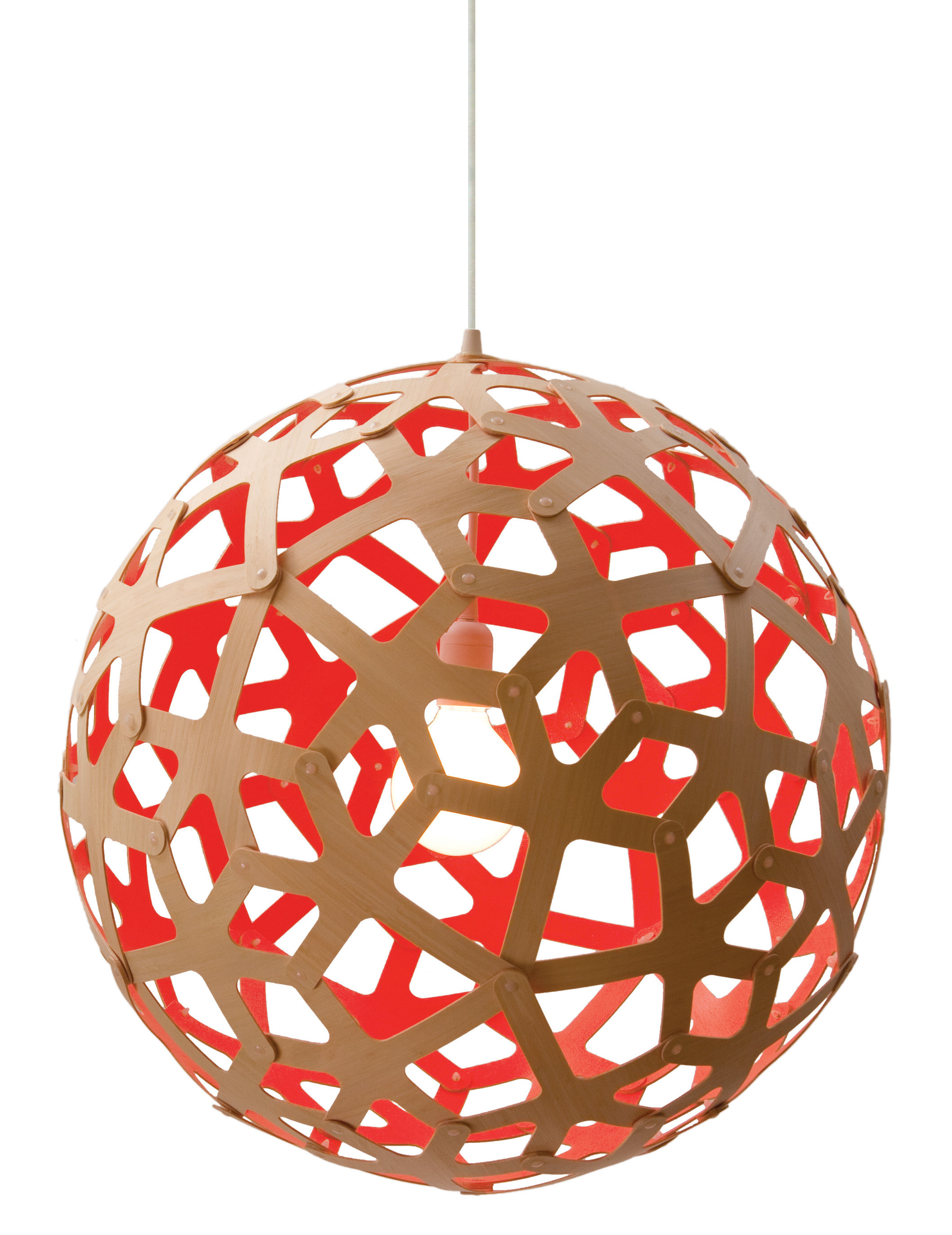 Luminaire - Suspensions - Suspension Coral / Ø 40 cm - Bicolore rouge & bois - David Trubridge - Rouge / Bois naturel - Pin