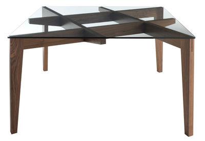 Table Autoreggente / 100 x 100 cm - Verre & noyer - Horm transparent,noyer en verre